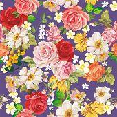 Seamless vintage romantic pattern. Beautiful flower vector illustration texture