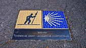 Chartres. France. Way Of St. James Sign.