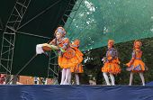 Mstyora,Russia-August 16,2014: Theatre of the baby mode emerges on scene at day of the city Mstyora