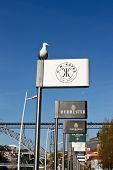 Seagull And Port Wine Billboards In Porto