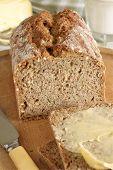 stock photo of home-made bread  - Irish wheaten bread soda bread made with wholemeal flour - JPG