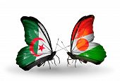 Two Butterflies With Flags On Wings As Symbol Of Relations Algeria And Niger