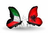 Two Butterflies With Flags On Wings As Symbol Of Relations Kuwait And Albania