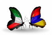 Two Butterflies With Flags On Wings As Symbol Of Relations Kuwait And Armenia