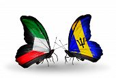 Two Butterflies With Flags On Wings As Symbol Of Relations Kuwait And Barbados