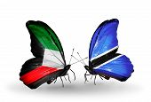 Two Butterflies With Flags On Wings As Symbol Of Relations Kuwait And Botswana