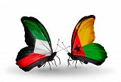 Two Butterflies With Flags On Wings As Symbol Of Relations Kuwait And Guinea Bissau