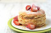 Freshly Prepared Pancakes With Strawberries