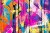 stock photo of street-art  - Urban colorful abstract street art on the wall - JPG