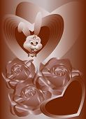 Cartoon Rabbit in the background of hearts with roses in chocolate tones