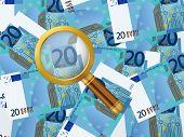 Magnifier On Twenty Euro Background