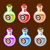 Poison cartoon bottles liquids colors elemetns