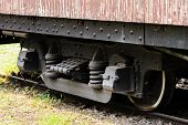 Close Up The Obsolete Train At Museum