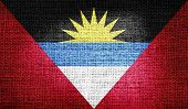 Antigua and Barbuda flag on burlap fabric