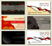 Abstract business cards kit of six designs with cutout elements