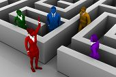 stock photo of maze  - A skilled leader helps the team find their way out of a maze - JPG