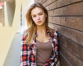 Lifestyle Portrait Sensual Pretty Blonde In Casual Clothes Outdoors, Street Fashion