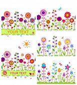 Funny floral borders with abstract flowers