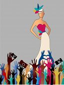 Fame Woman  reaching hands camers woman gown hat