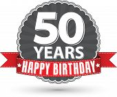 Happy birthday 50 years retro label with red ribbon, vector illustration
