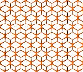 Vector Seamless Abstract Background. Orange Volumetric Grid