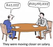 picture of negotiating  - Cartoon of company businessman attempting to negotiate salary with an unrealistic new employee - JPG