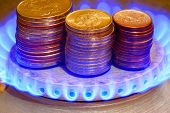 Money and gas torch.Russian ruble.