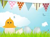 Easter chick eggs and bunting