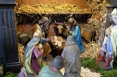 GRAZ, AUSTRIA - JANUARY 10, 2015: Nativity scene, creche, or crib, birth of Jesus in Barmherzigenkirche church in Graz, Styria, Austria on January 10, 2015.