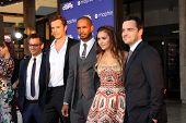 LOS ANGELES - AUG 7:  Luke Greenfield, James D'Arcy, Damon Wayans Jr, Nina Dobrev, Jake Johnson at the