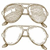 Engraving Illustration Of glasses