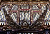 foto of pipe organ  - Detail of a 2 century old organ in a Spanish Catholic Church - JPG