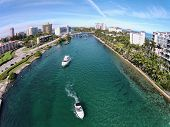 image of boat  - Aerial view of boating inlet in Boca Raton Florida - JPG