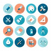 Set Of Artistic And Design Tools Icons