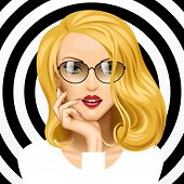 Vector image of face of the beautiful blonde girl with glasses on black and white circles background. Vector illustration