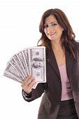 happy woman showing off big money