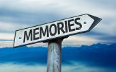 Memories sign with sky background