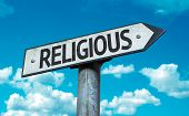 Religious sign with sky background