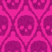 Pink Skulls Damask Pattern
