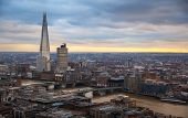 LONDON, UK - JANUARY 27, 2015: Shard, London panorama in sun set. View from the St. Paul cathedral