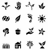 stock photo of footprint  - Set of black icons with different symbols of the green movement - JPG