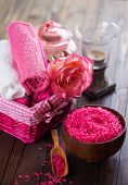 picture of salt-bowl  - Spa setting with sea salt towels and flower on painted wooden boards - JPG