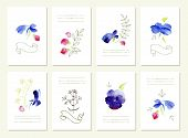 Hand Drawn Collection Of Romantic Floral Invitations.  Wedding,  Birthday, Valentine's Day. Isolated