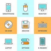 Technology Devices Line Icons Set
