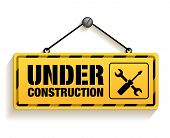stock photo of traffic signal  - Under Construction Sign in White Background - JPG