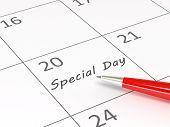 Special Day written on calendar