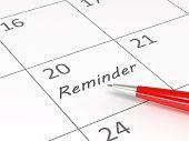 Reminder words  on a calendar