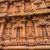 Fragment Of Bas-relief Tower Hindu Brihadishvara Temple, India, Tamil Nadu, Thanjavour, Closeup