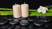Spa Concept Of Zen Basalt Stones, White Flower Plumeria, Candles And Natural Bamboo With Dew, Closeu