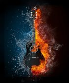 foto of guitar  - Electric Guitar on Fire and Water Isolated on Black Background - JPG